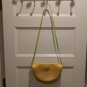 Straw and leather half moon purse